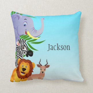 Jungle Animals Kids Throw Pillow