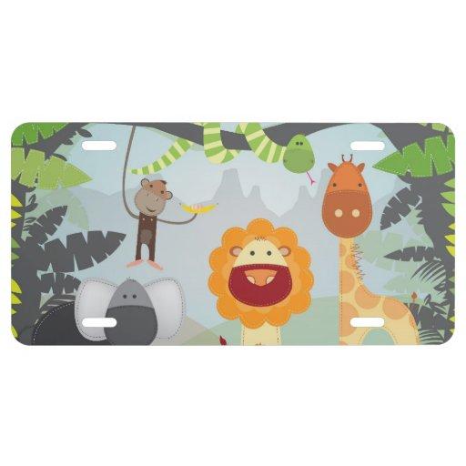 Jungle Animals License Plate