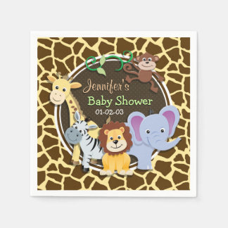 Jungle Animals on Brown Giraffe Animal Print Disposable Napkin