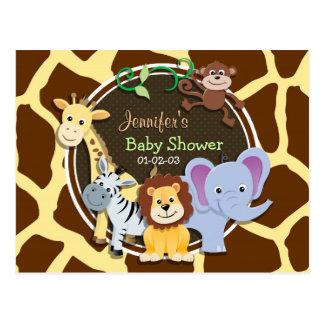 Jungle Animals on Brown Giraffe Animal Print Post Cards