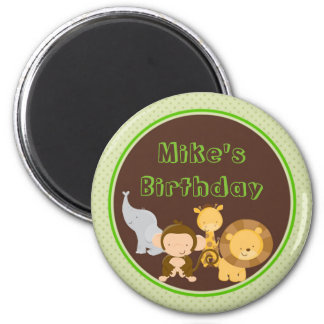 Jungle Animals Round Magnet Party Favor