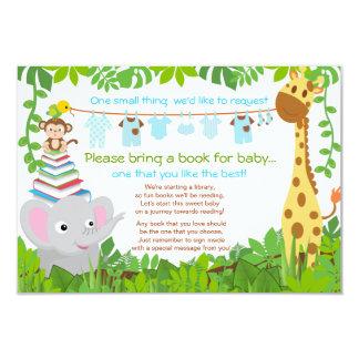 """Jungle Animals Safari Boy Baby Shower Book 3.5"""" X 5"""" Invitation Card"""