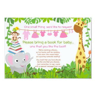 """Jungle Animals Safari Girl Baby Shower Book 3.5"""" X 5"""" Invitation Card"""