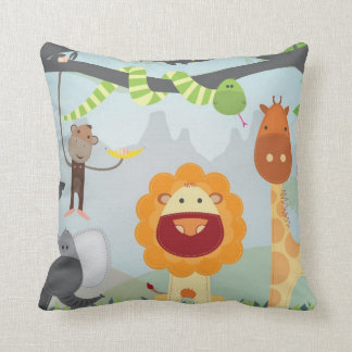Jungle Animals Throw Pillow