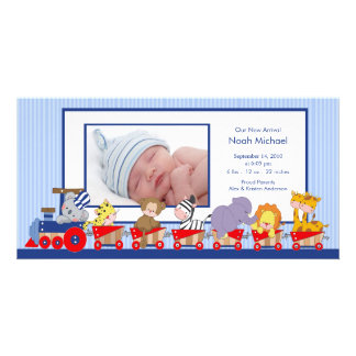 Jungle Animals Train Baby Boy Birth Annoucement Personalized Photo Card