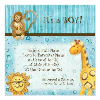 Jungle Babies, Boy Birth Announcement - Blue