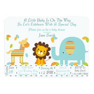 Jungle Baby Shower (Boy) Card