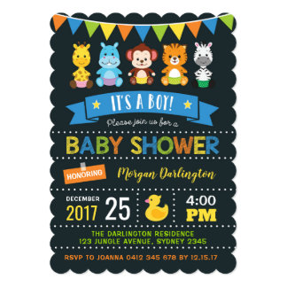 Jungle Baby Shower Invitation Boy Safari Invite