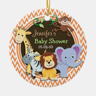 Jungle Baby Shower; Orange and White Chevron Ceramic Ornament