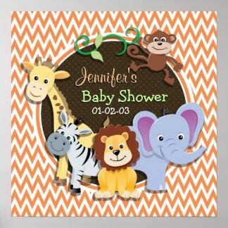 Jungle Baby Shower Orange and White Chevron Poster