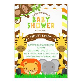 JUNGLE BABY SHOWER ZOO ANIMALS BABY INVITE