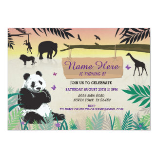 Jungle Birthday Safari Zoo Panda Birthday Invite