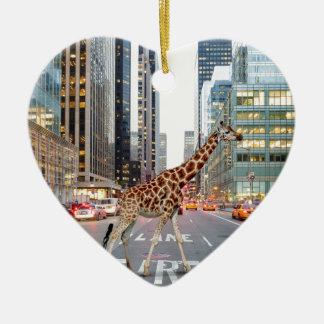 jungle city ceramic heart ornament