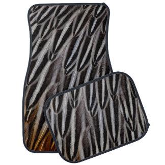 Jungle cock feathers close-up car mat