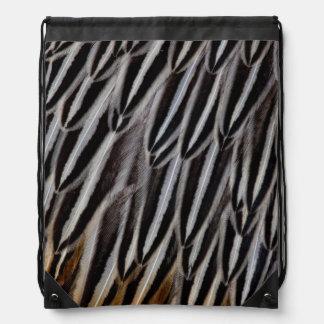 Jungle cock feathers close-up drawstring bag