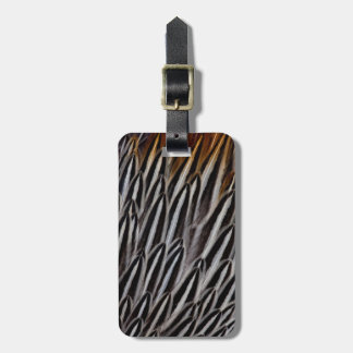 Jungle cock feathers close-up luggage tag