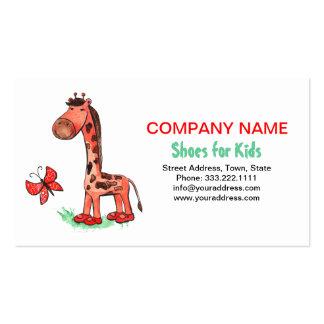Jungle Diva Giraffe Shoes For Kid's Business Card