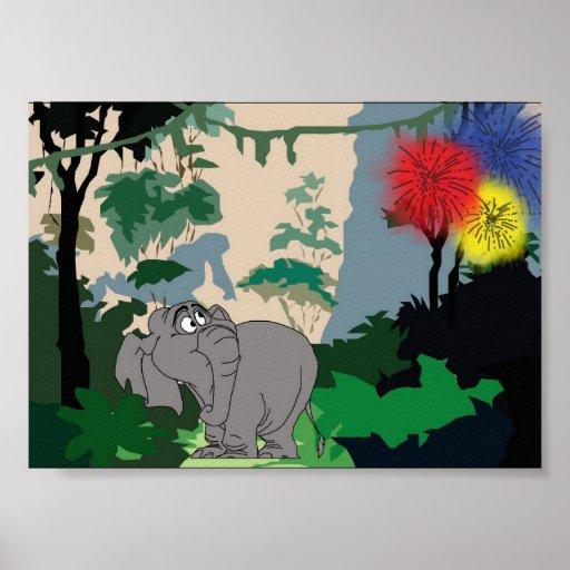 Jungle Elephant Poster