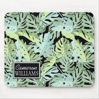 Jungle Floral Pattern | Add Your Name Mouse Pad