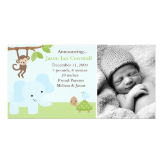 """Jungle Friends""  Birth Announcements Personalized Photo Card"
