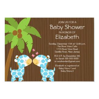 Jungle Giraffe Twin Boys Baby Shower Invitation
