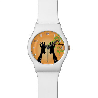 Jungle Giraffes w/ White Numbers Watch