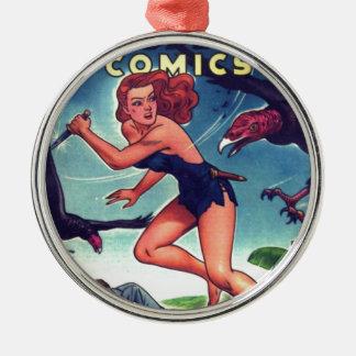 Jungle Girl and Condo Silver-Colored Round Ornament