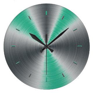 Jungle Green Accents Monochromatic Large Clock