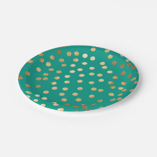 Jungle Green and Gold Glitter Dots Paper Plate