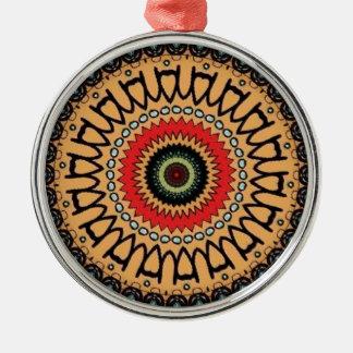 Jungle green pattern Silver-Colored round ornament