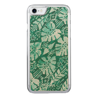 JUNGLE IKAT Hawaiian Green Tribal Tropical Carved iPhone 8/7 Case