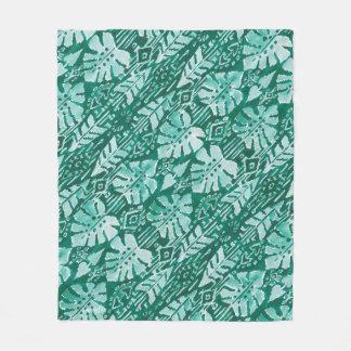 JUNGLE IKAT Hawaiian Green Tribal Tropical Fleece Blanket