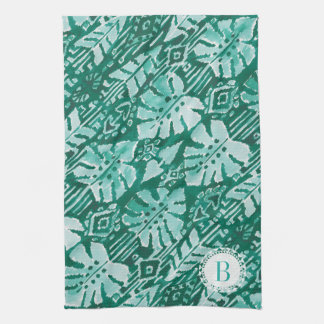 JUNGLE IKAT Hawaiian Green Tribal Tropical Kitchen Towel