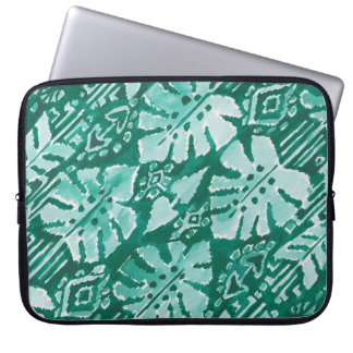 JUNGLE IKAT Hawaiian Green Tribal Tropical Laptop Sleeve