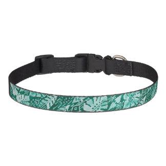 JUNGLE IKAT Hawaiian Green Tribal Tropical Pet Collar