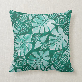 JUNGLE IKAT Hawaiian Green Tribal Tropical Throw Pillow