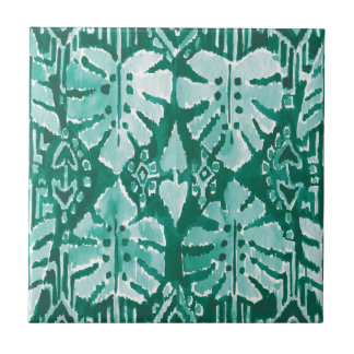 JUNGLE IKAT Hawaiian Green Tribal Tropical Tile