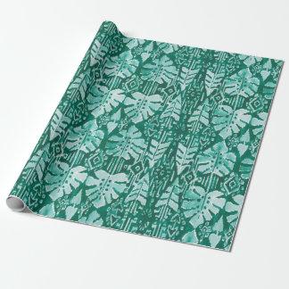 JUNGLE IKAT Hawaiian Green Tribal Tropical Wrapping Paper