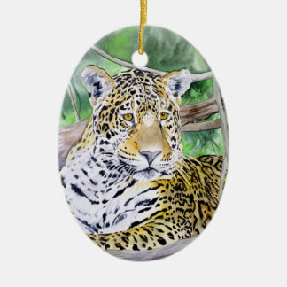 Jungle Jaguar Watercolor Fine Art Ceramic Ornament