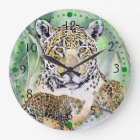 Jungle Jaguar Watercolor Fine Art Large Clock
