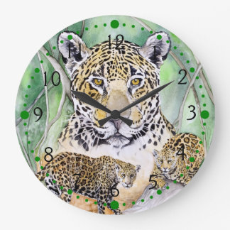Jungle Jaguar Watercolor Fine Art Large Clock
