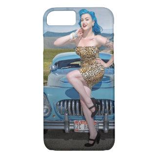 Jungle Jane Leopard Hot Rod Pin Up Car Girl iPhone 8/7 Case