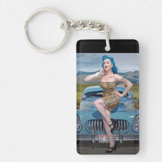 Jungle Jane Leopard Hot Rod Pin Up Car Girl Keychain