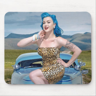 Jungle Jane Leopard Hot Rod Pin Up Car Girl Mouse Pad
