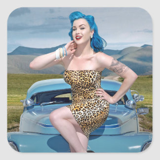 Jungle Jane Leopard Hot Rod Pin Up Car Girl Square Sticker