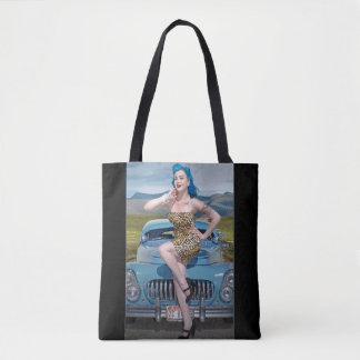 Jungle Jane Leopard Hot Rod Pin Up Car Girl Tote Bag
