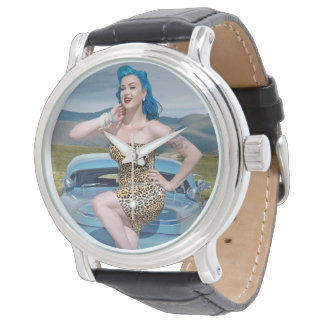 Jungle Jane Leopard Hot Rod Pin Up Car Girl Watch