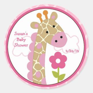 Jungle Jill/girafe de fille/autocollants/hauts de Sticker Rond