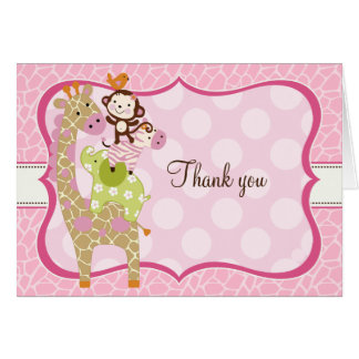 Jungle Jill Girl Animals Thank You Note Cards
