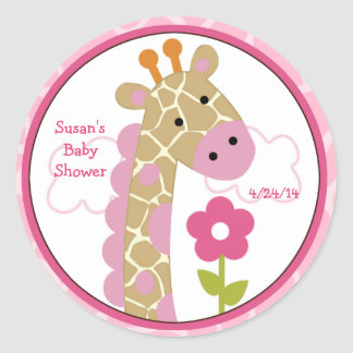 Jungle Jill/Girl Giraffe/Stickers/Cupcake Toppers Round Sticker